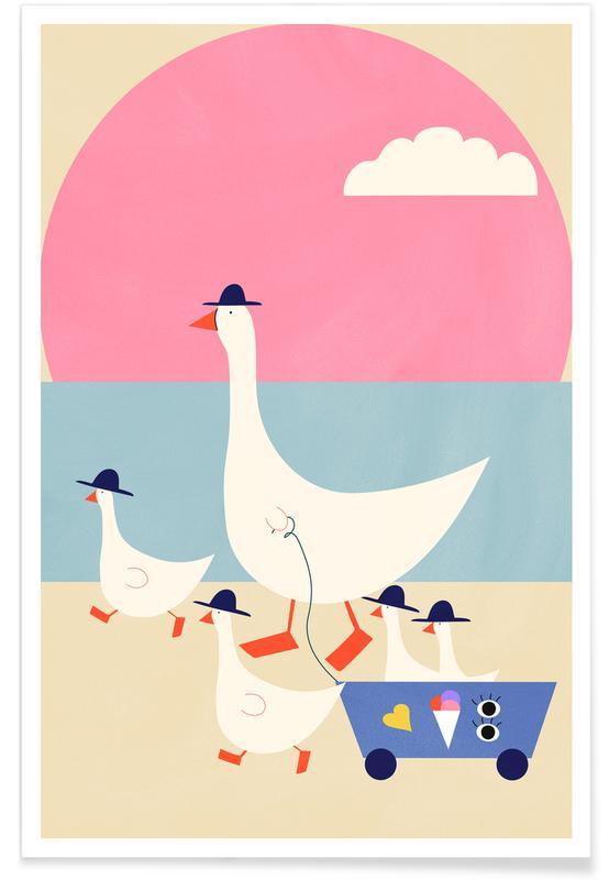 Børneværelse & kunst for børn, Ænder, Geese on Vacation Plakat