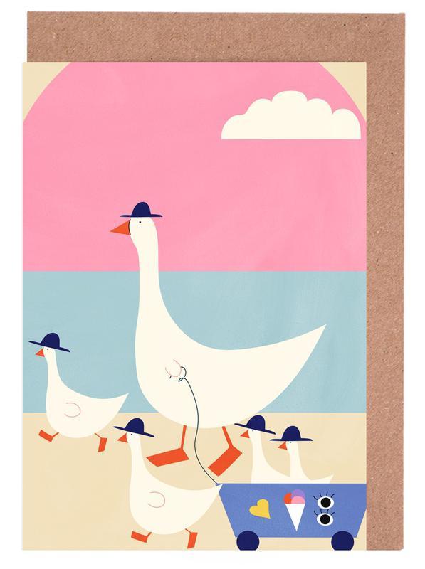 Art pour enfants, Canards, Geese on Vacation cartes de vœux