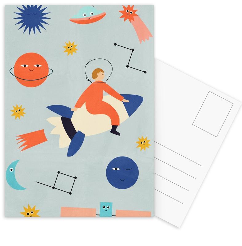Kinderzimmer & Kunst für Kinder, Friends in Space -Postkartenset