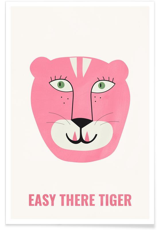 Tigres, Art pour enfants, Motivation, Pink Cat affiche