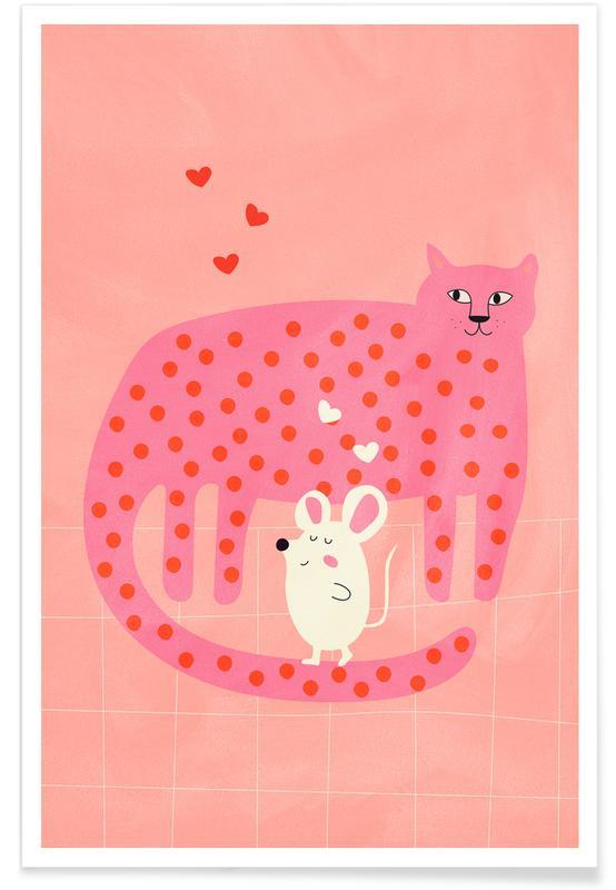 Chats, Art pour enfants, Cat and Mouse affiche