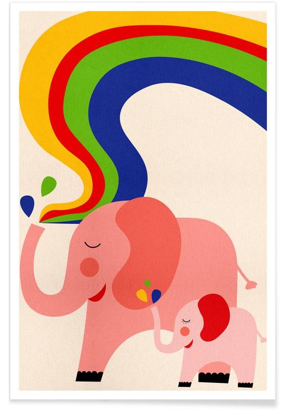 Arte para niños, Elefantes, Rainbows póster