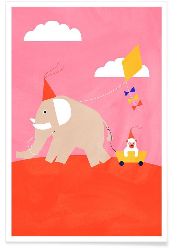 Kinderzimmer & Kunst für Kinder, Elefanten, Flying Kites -Poster