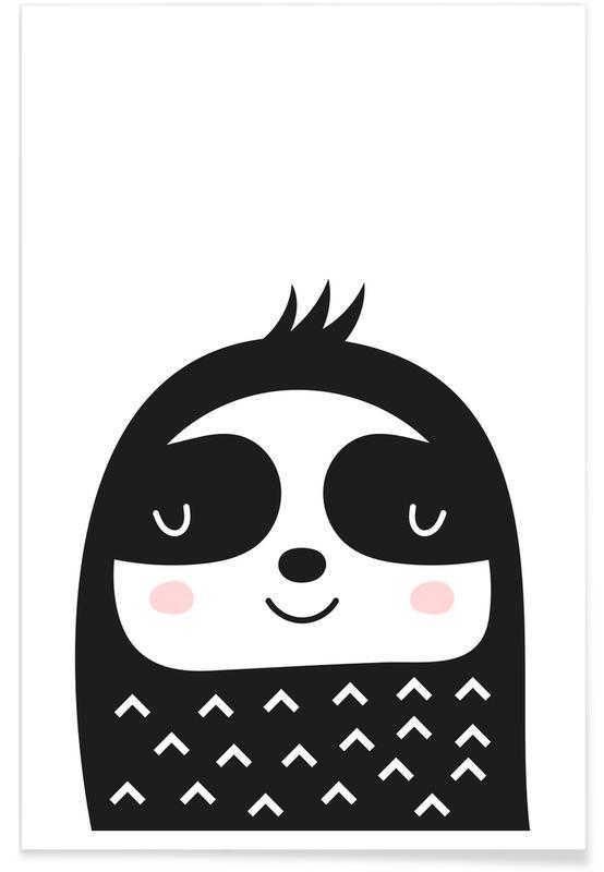 Paresseux, Art pour enfants, Happy Sloth affiche