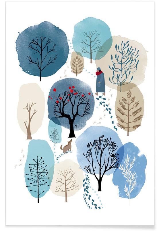 Art pour enfants, Arbres, Forêts, Winter Forest affiche