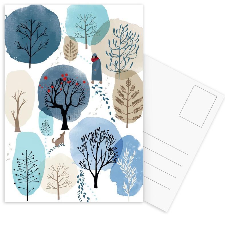 Kinderzimmer & Kunst für Kinder, Bäume, Wälder, Winter Forest -Postkartenset