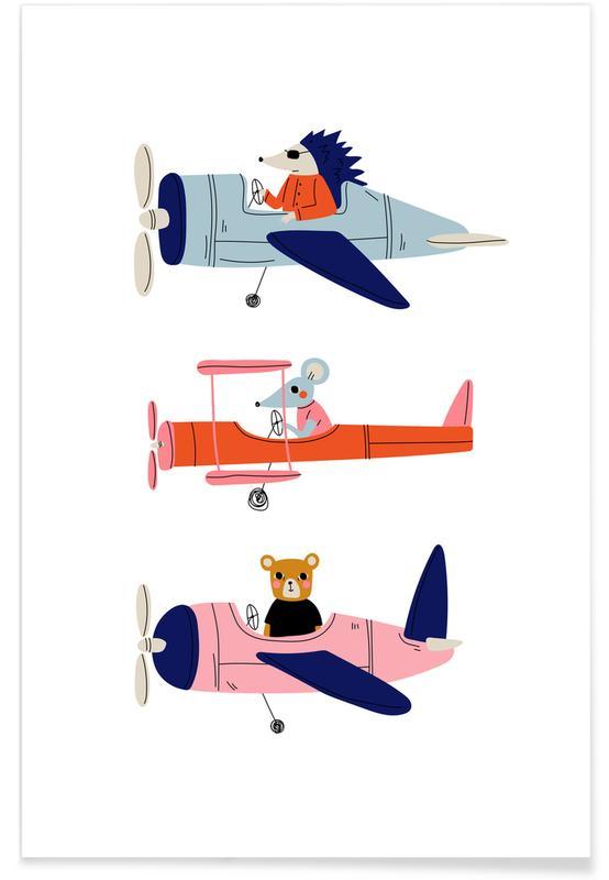 Børneværelse & kunst for børn, Aeroplane Race Plakat