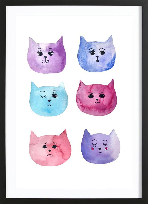Feline Feelings affiche sous cadre en bois