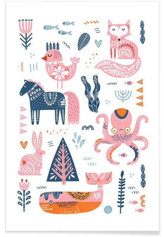 Børneværelse & kunst for børn, Patchwork Animals Plakat