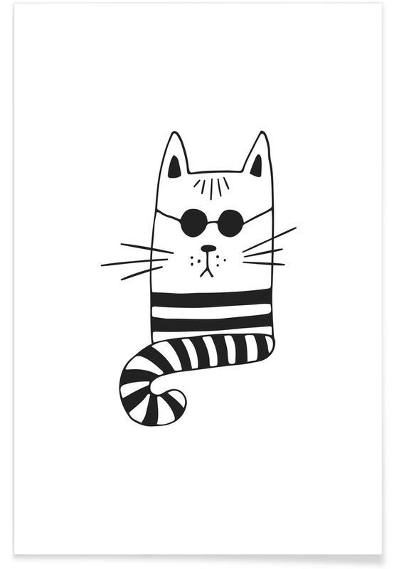 Sort & hvidt, Børneværelse & kunst for børn, Cool Cat Plakat
