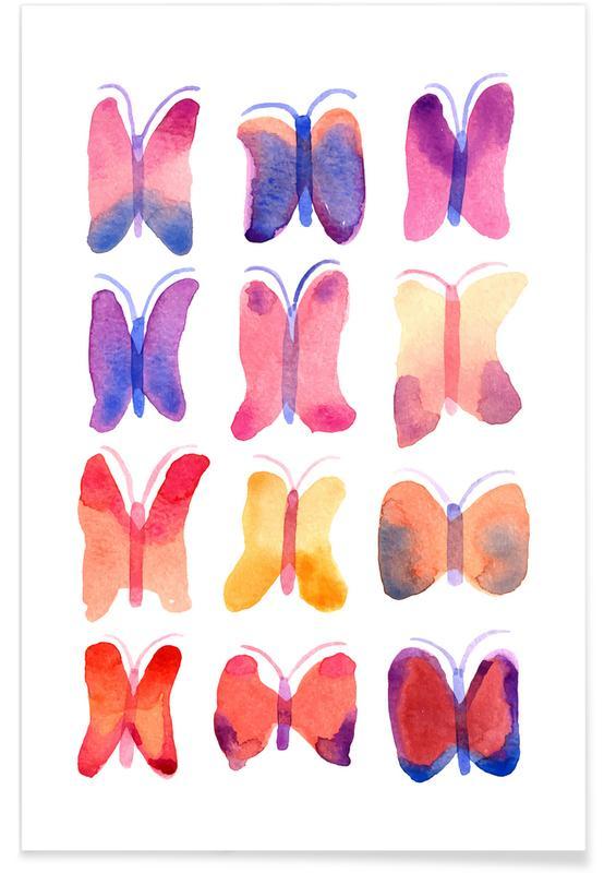 Watercolour Butterflies Poster