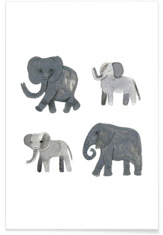 Børneværelse & kunst for børn, Safari dyr, Nellie and co. Plakat