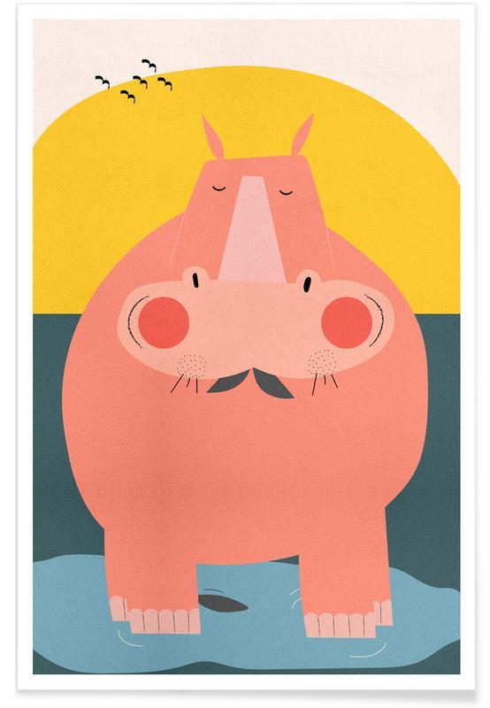 Art pour enfants, Hippopotames, Chilling Out affiche