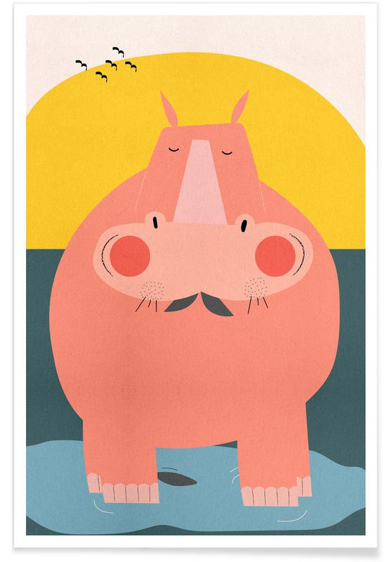 Nursery & Art for Kids, Hippos, Chilling Out Poster