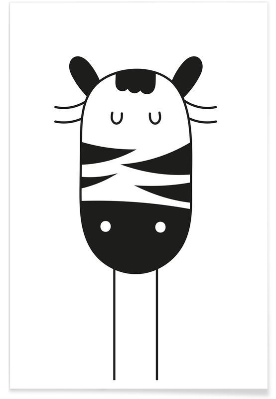 Zèbres, Art pour enfants, Sleepy Zebra affiche