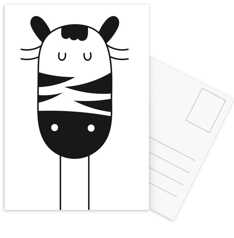 Zebras, Kinderzimmer & Kunst für Kinder, Sleepy Zebra -Postkartenset
