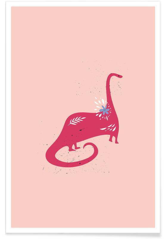 Børneværelse & kunst for børn, Dinosaurer, Pink Dinosaur Plakat