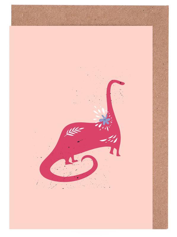 Kinderzimmer & Kunst für Kinder, Dinosaurier, Pink Dinosaur -Grußkarten-Set