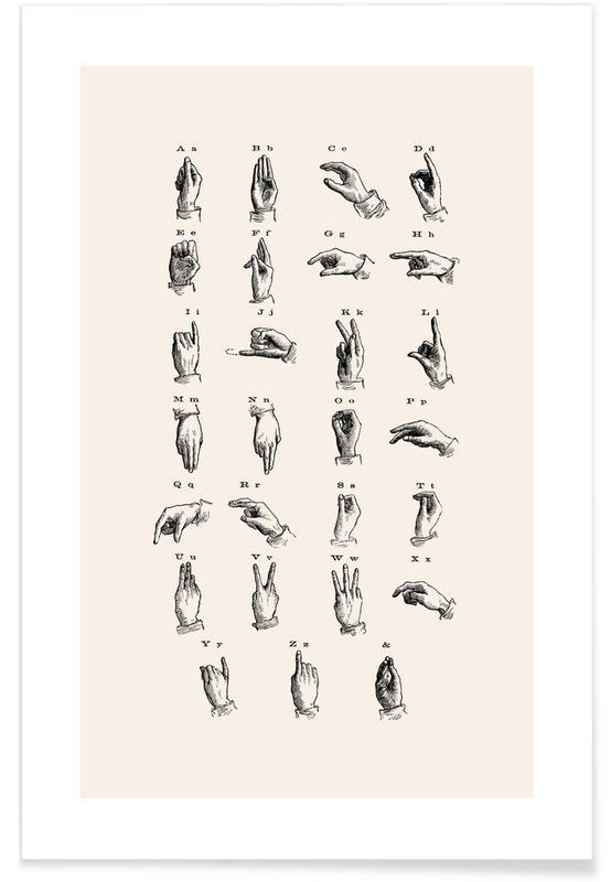 Vintage Sign Language Chart Poster