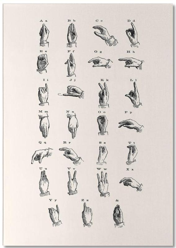 , Vintage Sign Language Chart bloc-notes