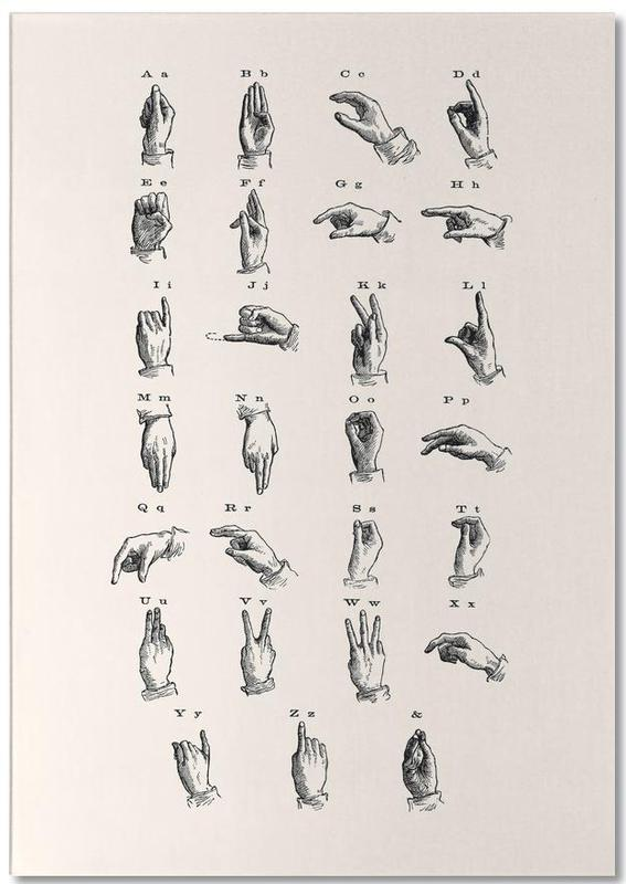 Vintage Sign Language Chart -Notizblock