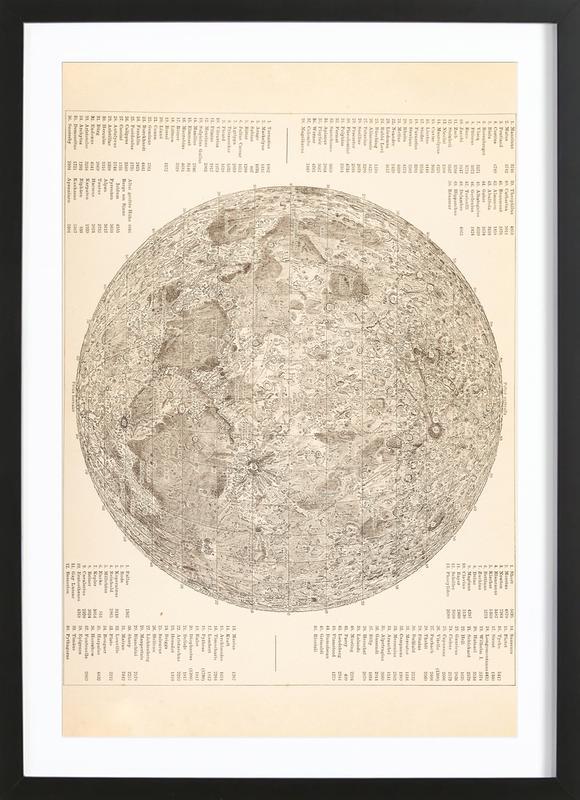 Moon Engraving Poster i träram
