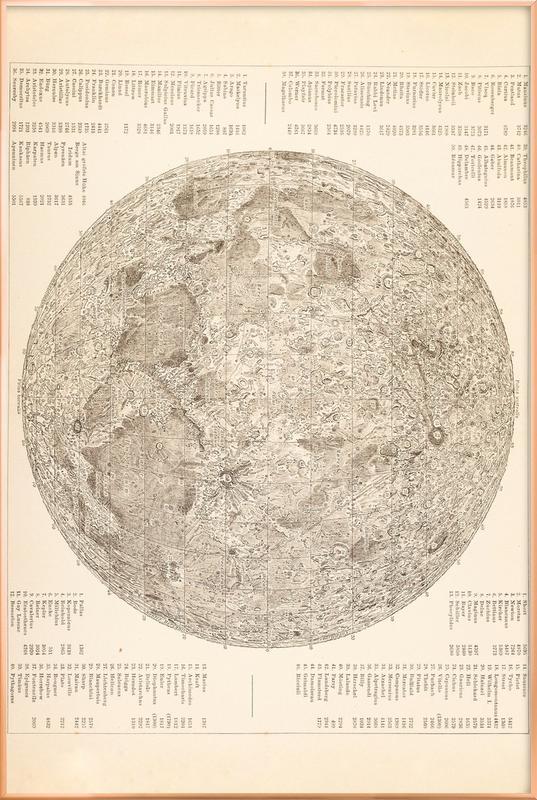 Moon Engraving poster in aluminium lijst