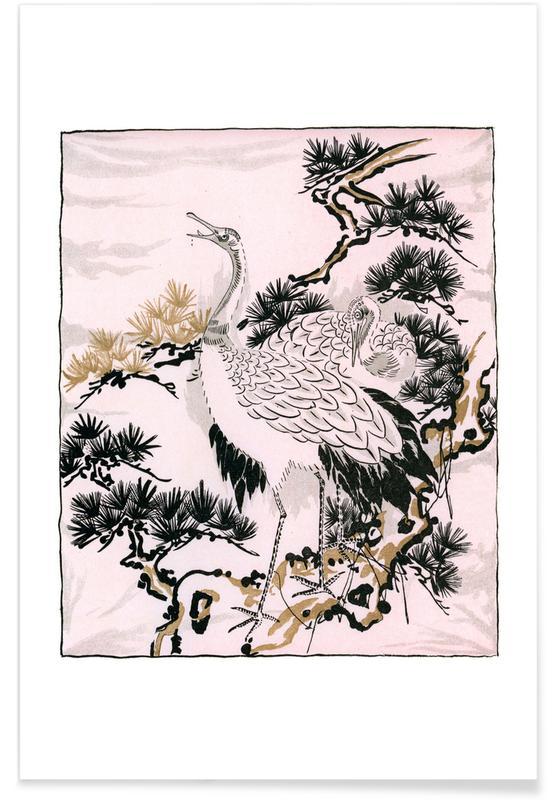 Kraniche, Japanese Cranes -Poster