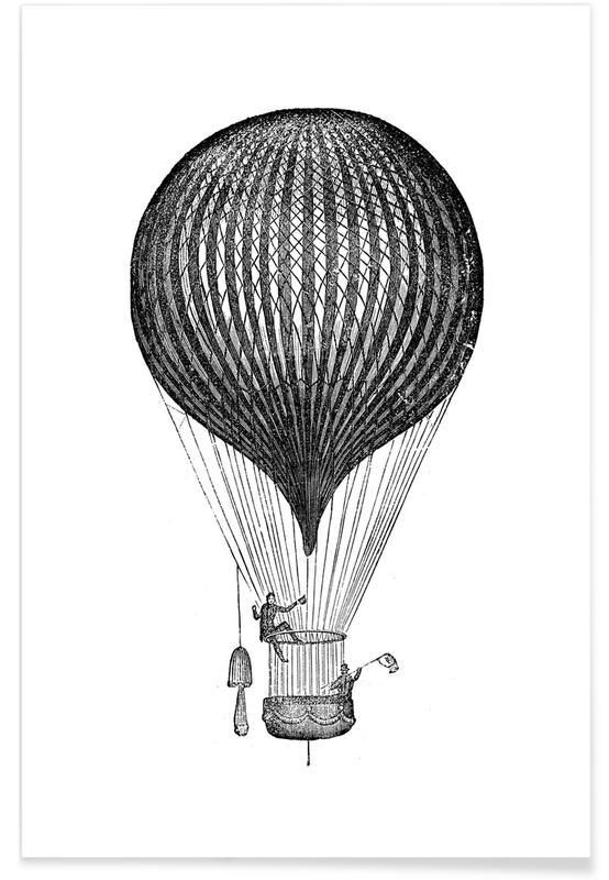 Art pour enfants, Noir & blanc, Avions, Air Balloon affiche