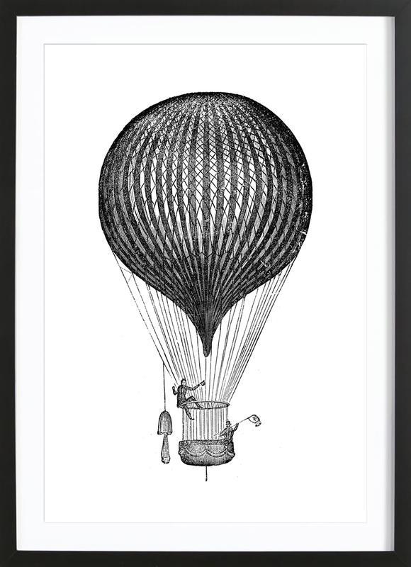 Air Balloon affiche sous cadre en bois