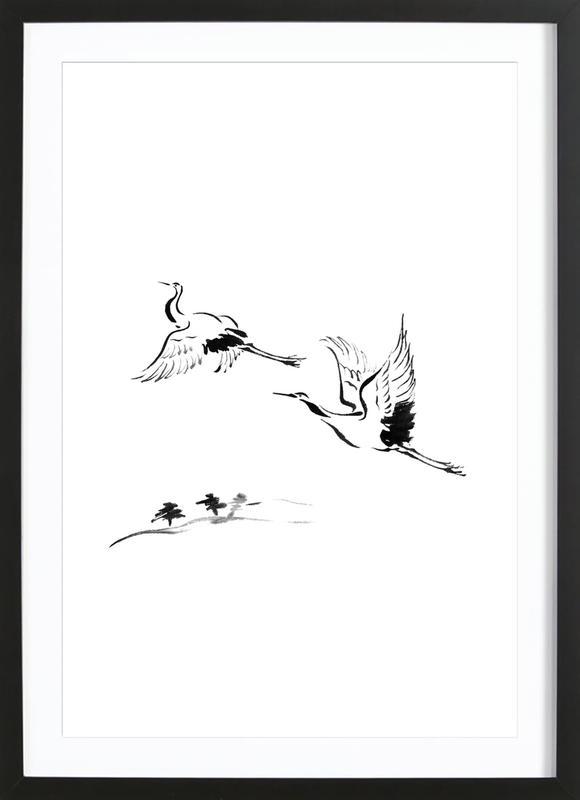 Cranes in Ink -Bild mit Holzrahmen