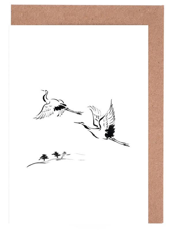 Schwarz & Weiß, Cranes in Ink -Grußkarten-Set
