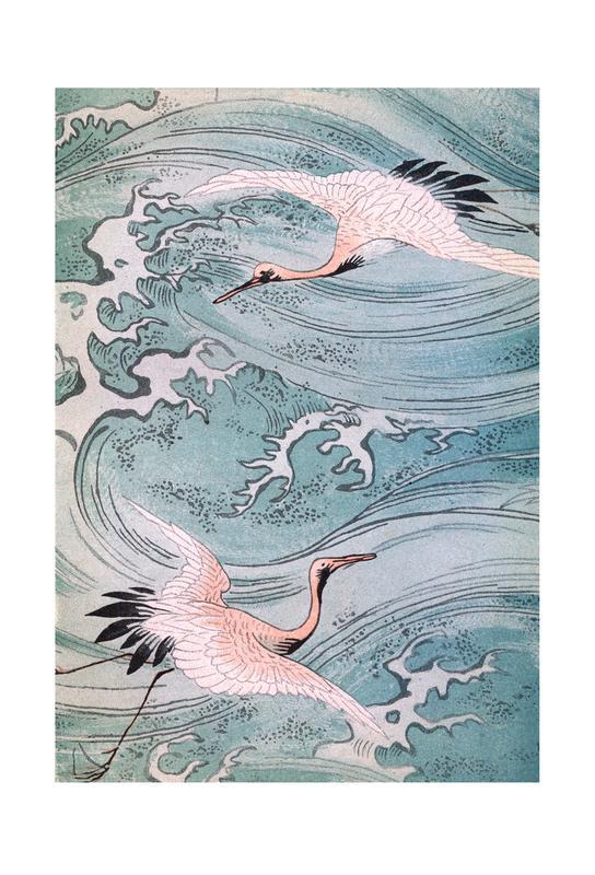 Storks Over Water -Acrylglasbild