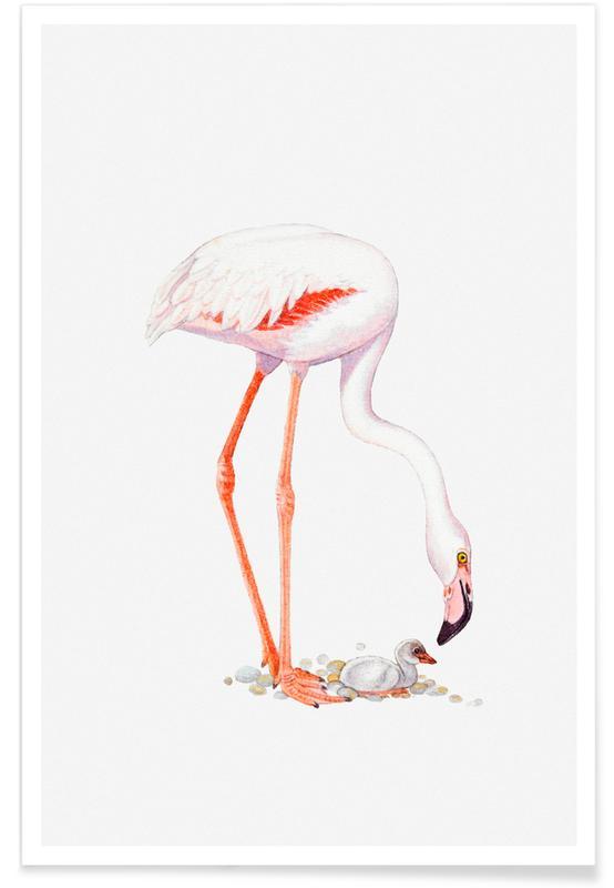 Børneværelse & kunst for børn, Flamingoer, Flamingo with Chick Plakat