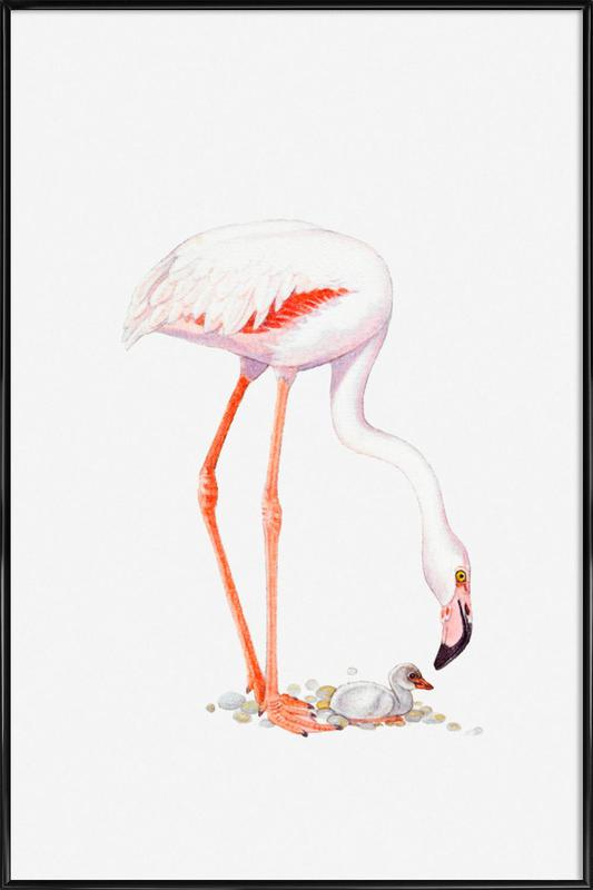 Flamingo with Chick Poster i standardram