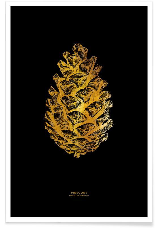 Noël, Feuilles & Plantes, Pinecone - Or - affiche