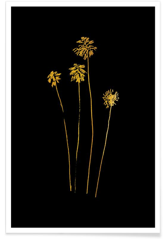 Palm Silhouettes-Gold -Poster