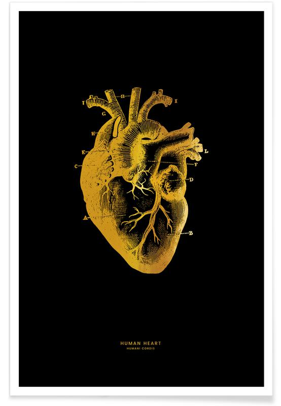 Hjerter, Human Heart Guld Plakat