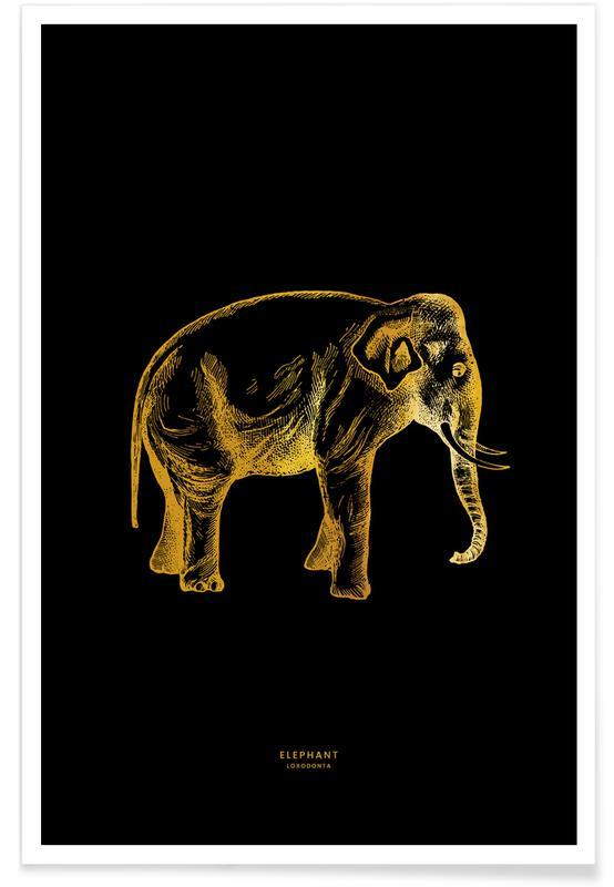 Éléphants, Elephant - Or - affiche