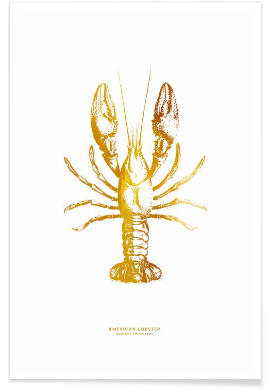 Gold American Lobster Poster