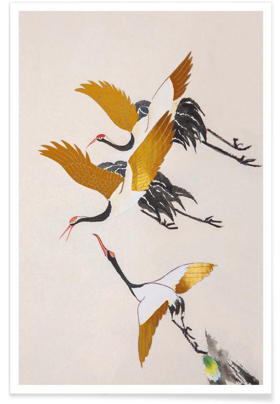 Japansk vintage, Traner, Swooping Cranes Guld Plakat