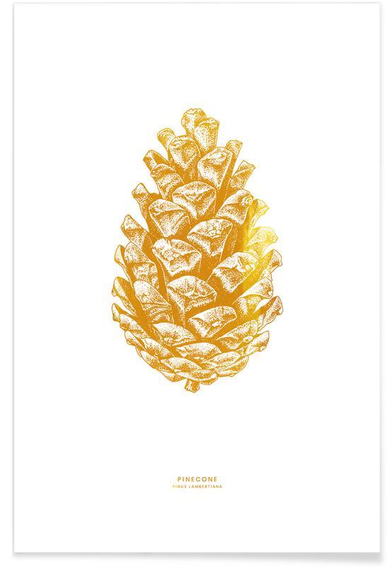 Blade & planter, Jul, Pinecone Guld Plakat