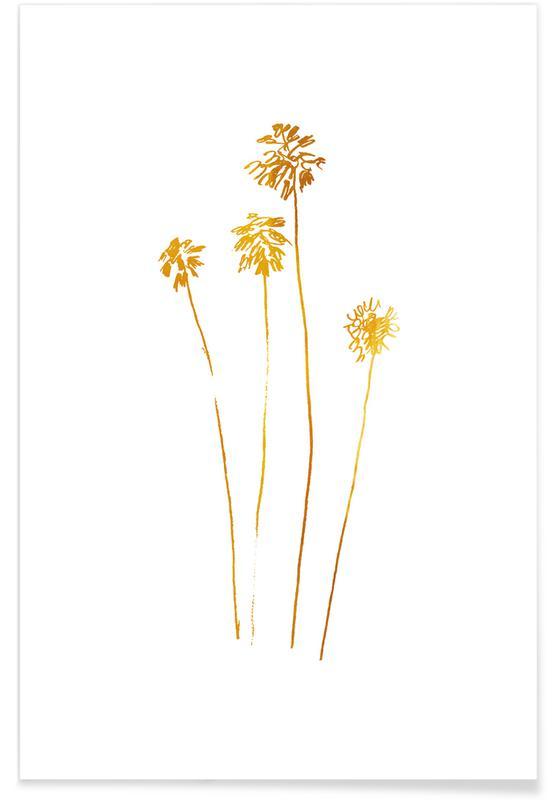 Palmer, Palm Silhouettes Guld Plakat