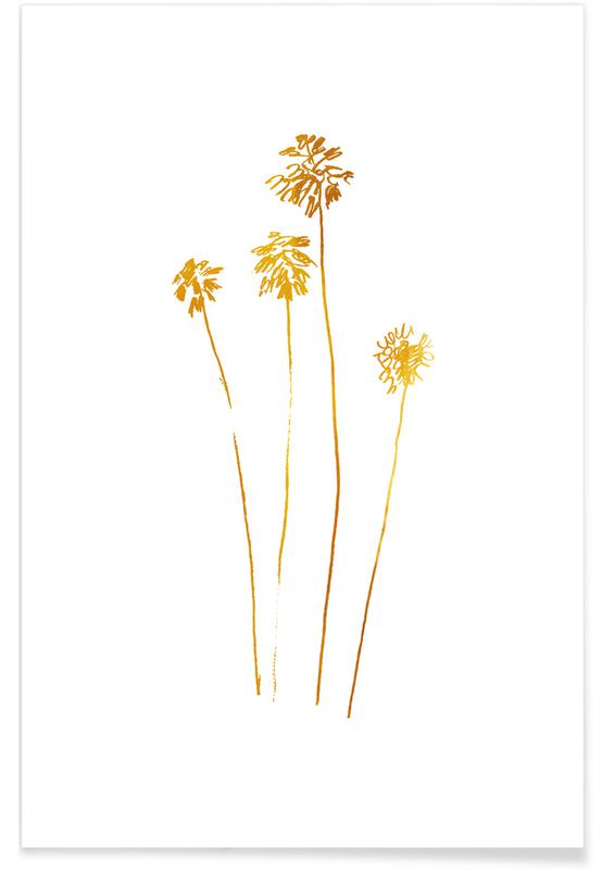 Gold Palm Silhouettes Poster