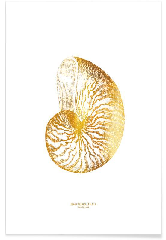 , Nautilus Shell Guld Plakat