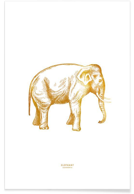 Art pour enfants, Éléphants, Elephant - Or - affiche