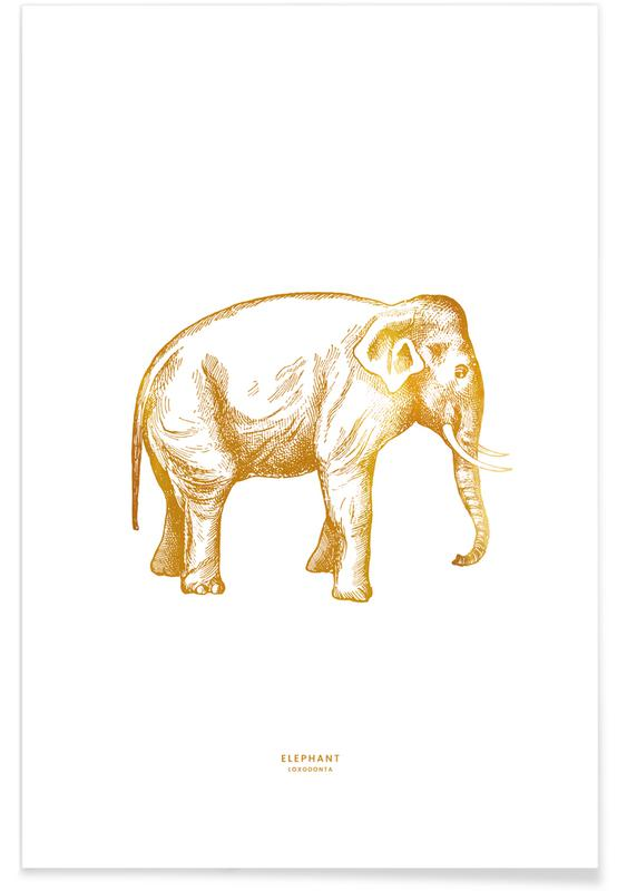 Gold Elephant Poster