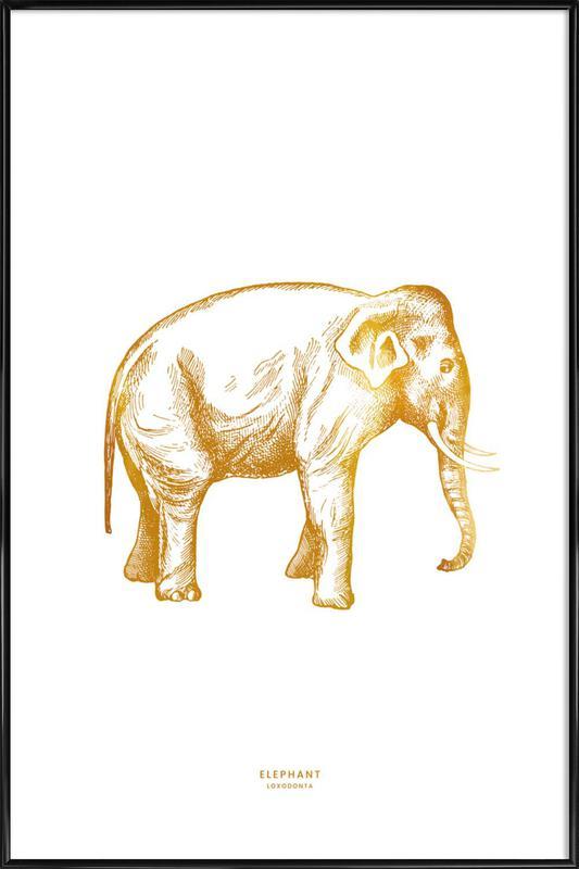 Gold Elephant -Bild mit Kunststoffrahmen