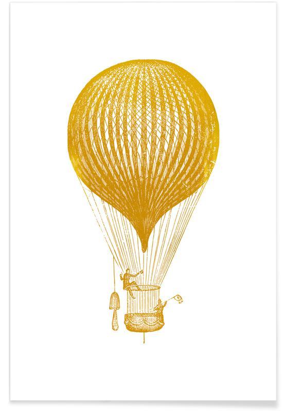 Avions, Art pour enfants, Air Balloon - Or - affiche