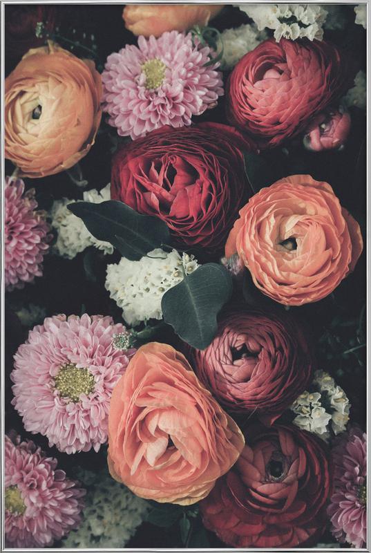 Vintage Bouquet affiche sous cadre en aluminium